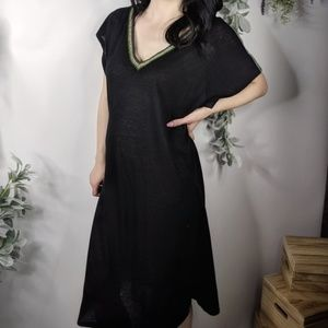 PITUSA inca Trim cotton v-back dress black 0427